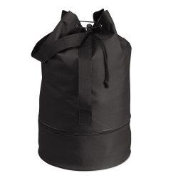 Sac marinaresc, compartiment cu fermoar, Everestus SA01, poliester 600D, negru, saculet de calatorie si eticheta bagaj incluse