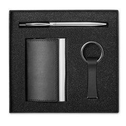 Set business, pix, breloc si suport carti de vizita, 17x16x3.3 cm, Metal, Poliuretan, Everestus, PI7, negru