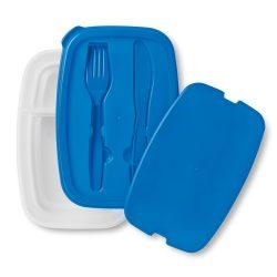 Cutie sandwich cu tacamuri in capac, Everestus, CAE47, plastic, albastru, saculet sport inclus