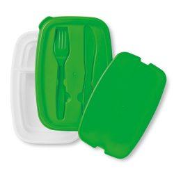 Cutie sandwich cu tacamuri in capac, Everestus, CAE48, plastic, verde, saculet sport inclus