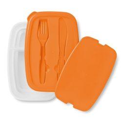 Cutie sandwich cu tacamuri in capac, Everestus, CAE49, plastic, portocaliu, saculet sport inclus