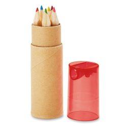 6 creioane in tub, Wood, transparent red