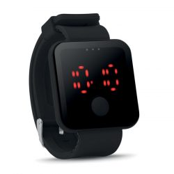 Ceas de mana cu LED rosu, Plastic, black