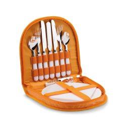 Set picnic cu maner, accesorii incluse, materiale multiple, Everestus, CP3, portocaliu