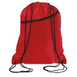Saculet larg, inchidere cu snur, poliester 190T, Everestus, 8IA19054, rosu, eticheta de bagaj inclusa
