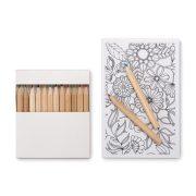 Set de colorat adulti cu 10 planse si 12 creioane colorate, 140x100 mm,  Everestus, 20APR015, carton, alb