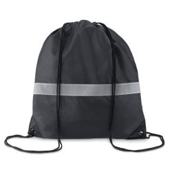 Sac cu cordon si banda reflect, poliester, black