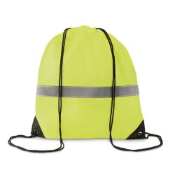 Sac cu cordon si banda reflect, poliester, neon yellow