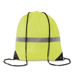 Sac cu cordon si banda reflect, poliester, neon yellow