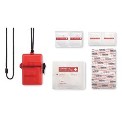 Trusa de prim ajutor impermeabila, plastic, Everestus, TSPA25, rosu, saculet de calatorie inclus
