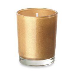Lumanare in pahar din sticla, Everestus, LPD03, auriu, laveta inclusa