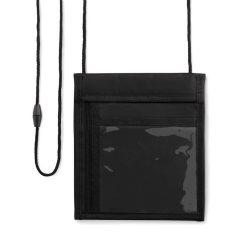 Portofel de atarnat la gat, cu mai multe compartimente, Everestus, PPE07, poliester 70D, negru, 150x5x175 mm, lupa inclusa