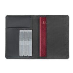 Portofel pasaport 2 nuante, poliester, black