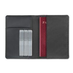 Portofel cu loc pentru pasaport, protectie RFID, Everestus, RF04, poliester, negru, 105x6x145 mm, lupa de citit inclusa