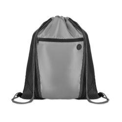 Saculet cu buzunar frontal cu fermoar, poliester, Everestus, 8IA19075, negru, eticheta de bagaj inclusa