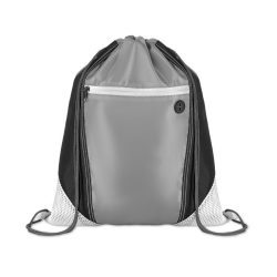 Saculet cu buzunar frontal cu fermoar, poliester, Everestus, 8IA19081, alb, eticheta de bagaj inclusa