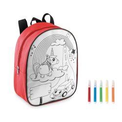Rucsac pentru copii cu 5 markere incluse, Everestus, 20IAN558, Rosu, Poliester 600D