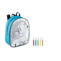 Rucsac pentru copii cu 5 markere incluse, Everestus, 20IAN559, Turcoaz, Poliester 600D