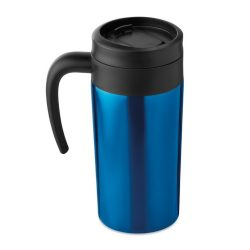 Cana de calatorie 340 ml, cu maner, perete dublu, Everestus, FNK02, otel inoxidabil, plastic, albastru, saculet inclus