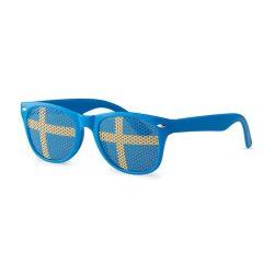 Ochelari de soare cu steagul Suediei pe lentila, Everestus, OSSG052, policarbonat, albastru, laveta inclusa