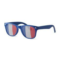 Ochelari de soare cu steagul Frantei pe lentila, Everestus, OSSG059, policarbonat, albastru, laveta inclusa
