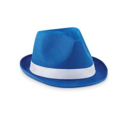 Palarie colorata din paie, materiale multiple, royal blue