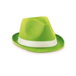 Palarie colorata din paie, materiale multiple, lime