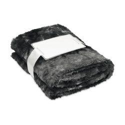 Patura blana artificiala 120x150 cm, lana, Everestus, PA01, negru, saculet sport inclus