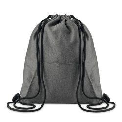 Saculet cu cordon si buzunar frontal, Everestus, SA04, tesatura lana, negru, saculet de calatorie si eticheta bagaj incluse
