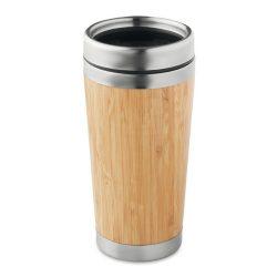 Cana 400 ml, perete dublu, bambus, otel inoxidabil, polipropilena, Everestus, CC8, natur, saculet de calatorie inclus