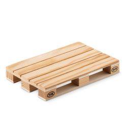 Suport pahare din lemn in forma de palet, Everestus, SPI04, natur, laveta inclusa