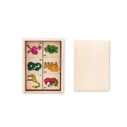 Joc Domino pentru copii, 28 piese, in cutie din lemn, Everestus, JJE05, natur, saculet de calatorie inclus