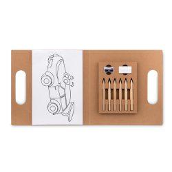 Set de colorat cu 6 creioane, ascutitoare si radiera, Everestus, 20IAN560, Bej, Carton