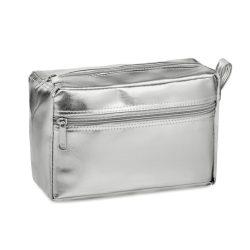 Geanta cosmetice pentru voiaj, Everestus, SE04, pvc lucios, argintiu, saculet de calatorie inclus