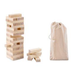 Turn de joc 54 piese din lemn, in husa din bumbac, Everestus, JJE01, natur, saculet de calatorie inclus