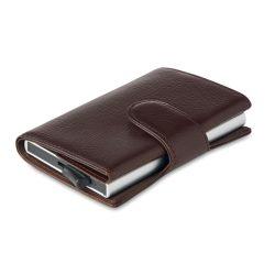 Portofel pentru carduri, cu protectie RFID, Everestus, 9IA19165, Poliuretan, Maro, 100x75x23 mm
