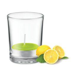 Lumanare aromatizata in sticla transparenta, Everestus, 9IA19050, Verde