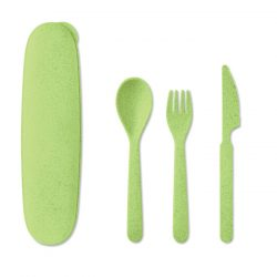 Set de tacamuri cu 3 piese, Item with multi-materials, lime