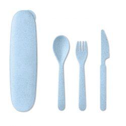 Set de tacamuri, 3 piese, Everestus, 9IA19318, Polipropilena, Paie de grau, Albastru