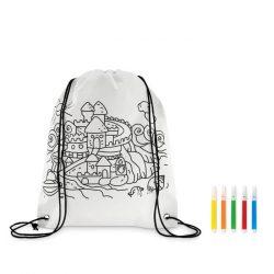 Saculet sport de colorat cu 5 markere, Everestus, 20APR011, material netesut, alb