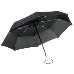 Umbrela de buzunar automata antivant 97 cm, ax metalic, negru, alb, Everestus, UA43SE, fibra de sticla, poliester