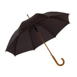 Umbrela automata 103 cm, maner curbat din lemn, Everestus, 20IAN778, Negru, Lemn, Metal, Poliester
