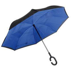 Umbrela 109 cm, reversibila, mecanism de siguranta, albastru, negru, Everestus, UC14FD, metal, fibra de sticla, poliester