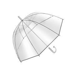 Umbrela transparenta 101 cm, maner curbat, transparent si argintiu, Everestus, UC01BE, metal, poe, saculet de calatorie inclus
