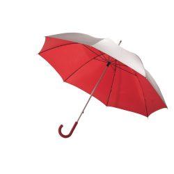 Umbrela Golf 120 cm, maner curbat din cauciuc, argintiu si rosu, Everestus, UG16SS, aluminiu, fibra de sticla, poliester