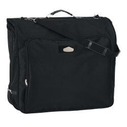 Husa pentru costum cu buzunar frontal, negru, Everestus, GU10LS, poliester 600D, saculet de calatorie si eticheta bagaj incluse