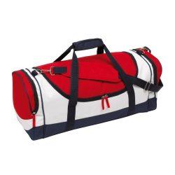 Geanta sport, albastru, rosu si alb, Everestus, GS30MA, poliester 600D, saculet de calatorie si eticheta bagaj incluse