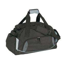 Geanta sport, negru si gri, Everestus, GS02DE, poliester 600D, saculet de calatorie si eticheta bagaj incluse