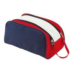 Geanta cosmetice pentru voiaj, Everestus, MA01, poliester 600D, albastru, rosu, alb, saculet de calatorie inclus