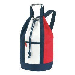 Saculet sport, alb, albastru si rosu, Everestus, GS31MA, poliester 600D, saculet de calatorie si eticheta bagaj incluse